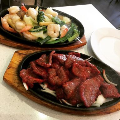 Sizzling Garlic Prawns and Beef